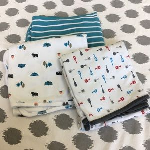 Set of 3 Boy's Swaddle Blankets Guitars Camping